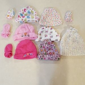 BUNDLE of 8 Infant Hats & 4 Matching Mitts & Bow